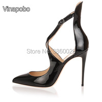Vinapobo Women Fashion Patent Pointed Toe Buckle Strap Stiletto Heel Shoes Sexy Cross Strap Red High Heels Pumps Plus Size 43