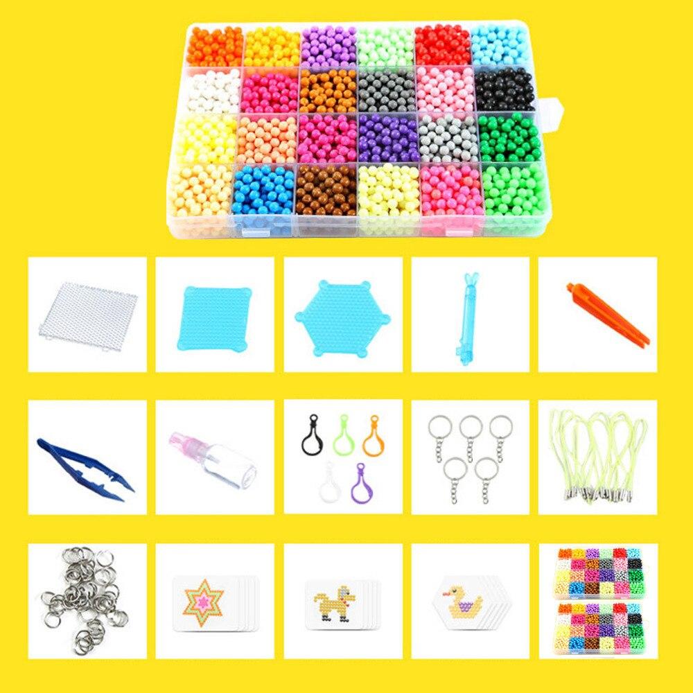 Besegad Kids 3200pcs 24Colors Magic Cartoon Water Fuse Hama Beads Magic Aqua Bead Puzzle Jigsaw Pegboards Set DIY 3D Puzzle Toys