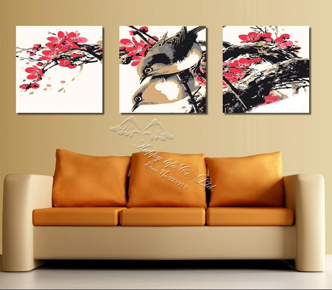 3 panel modern wall painting ink artwork elegant sitting room decoration home modern picture household items first - Decorative Home Items