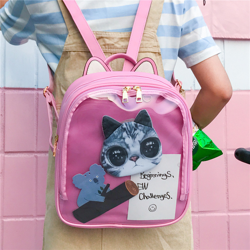 MSMO Lovely Cat Ear Leather Backpacks Candy Color Transparent Bag Women Shoulder Bags School Teenage Girls Travel Bagpack Itabag