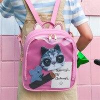 MSMO Lovely Cat Ear Leather Backpacks Candy Color Transparent Bag Women Shoulder Bags School Teenage Girls