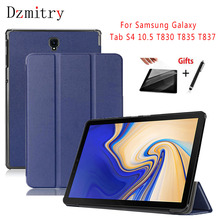 купить Ultra Slim Smart Magnet PU Leather Cover For Samsung Galaxy Tab S4 10.5 SM-T830 T835 T837 Tablet Protective Case+film+Stylus pen по цене 679.12 рублей