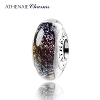 ATHENAIE Genuine Murano Glass 925 Silver Core Midnight Effervescence Charms Bead Fit All European Bracelets Color