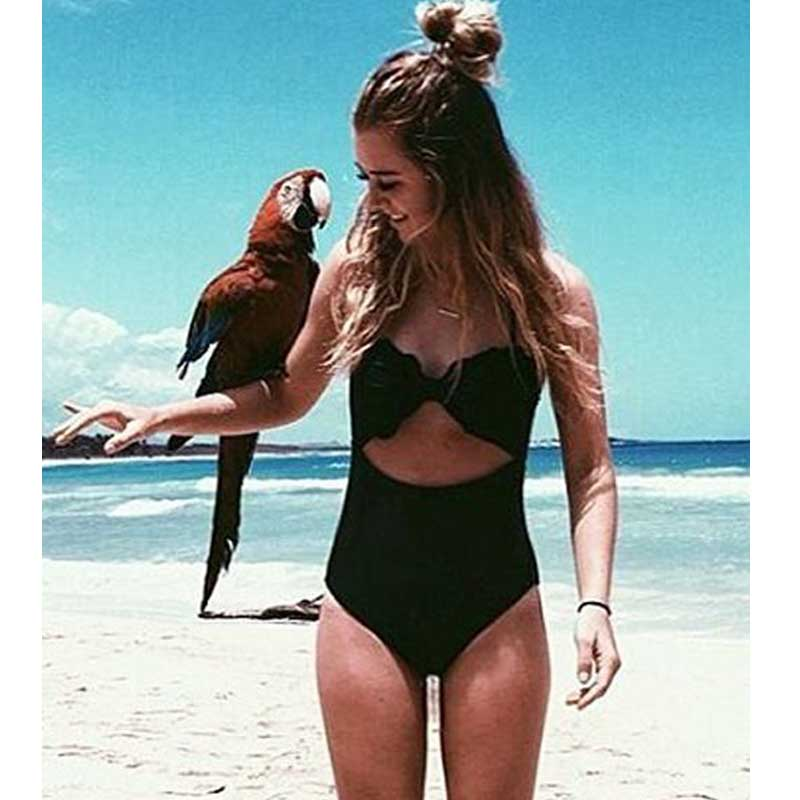 2017 New Sexy Swimwear Women One Piece Swimsuit Solid Swimwear Large Size Vintage Retro Swimsuit Bathing Suits XL women one piece triangle swimsuit cover up sexy v neck strappy swimwear dot dress pleated skirt large size bathing suit 2017