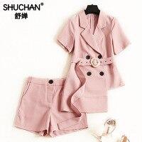 Shuchan розовый комплект из двух предметов со штанами женский двубортный топ + шорты офисные женские модные комплекты женский комплект одежды