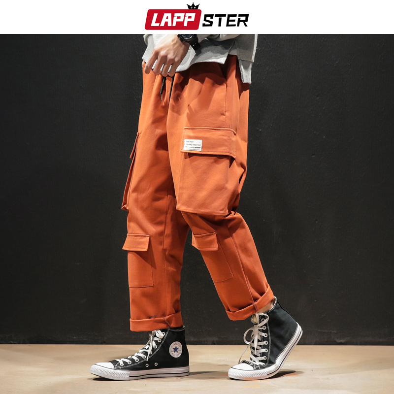 LAPPSTER Men Streetwear Harem Pants 2020 Overalls Mens Joggers Baggy Cargo Pants Pockets Casual Korean Style Wide Leg Sweatpants