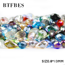 BTFBES 30pcs Teardrop Pendant Austrian Crystal Beads 8*13mm Waterdrop Glass Loose For Jewelry Making Bracelet Necklace DIY