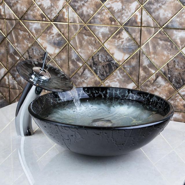New Ross Bathroom Sink Washbasin Tempered Glass Hand Painted Waterfall  4278 1 Lavatory Bath