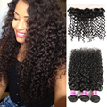 Curly Hair with Closure Ear to Ear Lace Frontal Closure with Bundles 7A Afro Kinky Curly Hair Brazilian Virgin Hair with Closure