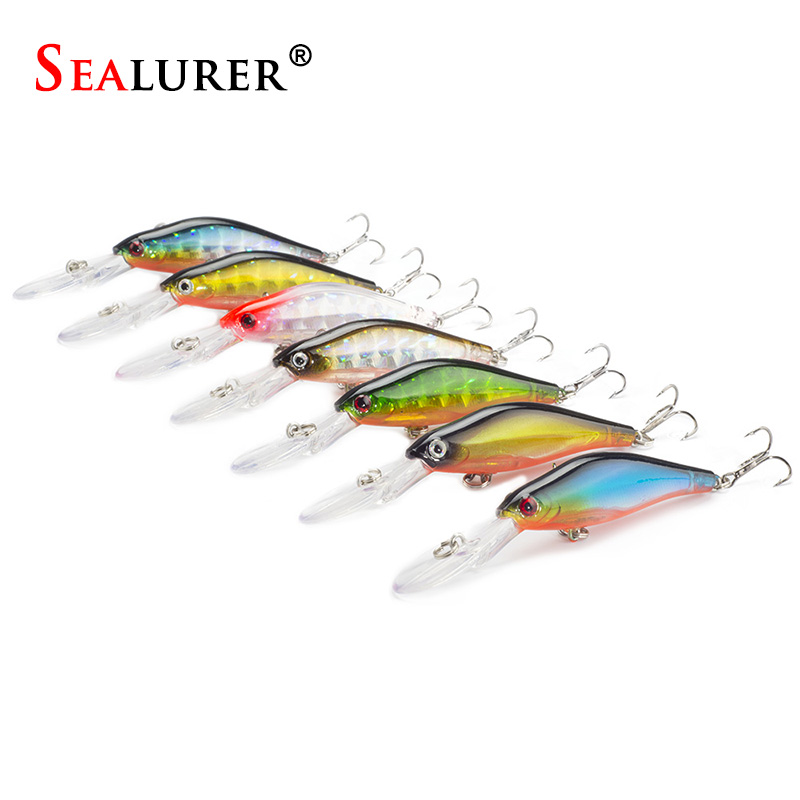 SEALURER 7pcs/lot  Laser Wobblers Fishing Tackle High Quality Sinking Minnow Japan Fishing Lure Crankbait with 6# Hooks 3D Eyes fishing lures wobblers hard minnow crankbait aritificial laser reflective fishing tackle with feather hooks pesca isca baits