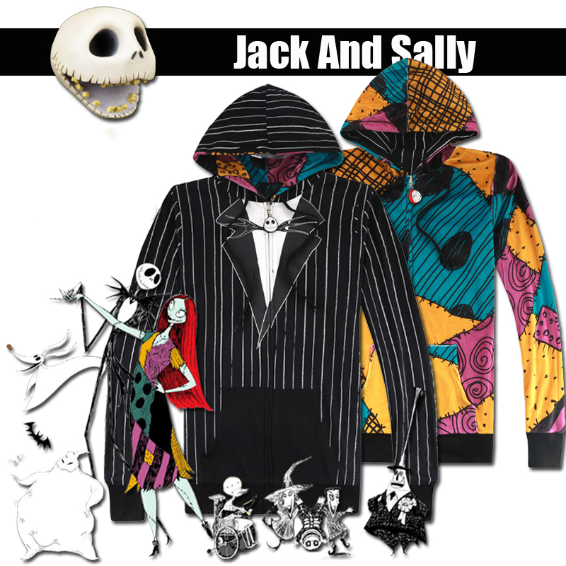 Nightmare Before Christmas Jack Skellington Cosplay Costume Hoodies Halloween Sweatshirt Holiday Suit Reversible Coat Jacket
