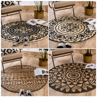National Style jute Circular Rug Study Computer Chair Cushion Living room Tea table Mat Hanging Basket Nature Jute Carpet.