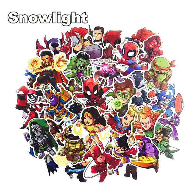 50Pcs Marvel The Avengers Cartoon Sticker Waterproof For Laptop Moto Skateboard Luggage Guitar Furnitur Decal Toy Stickers