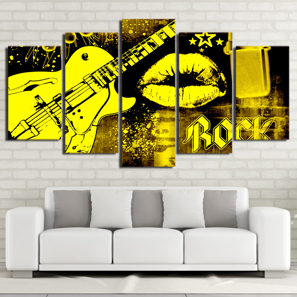 Painting Living Room Poster Canvas 5 Piece Guitar Wall Art Frames ...