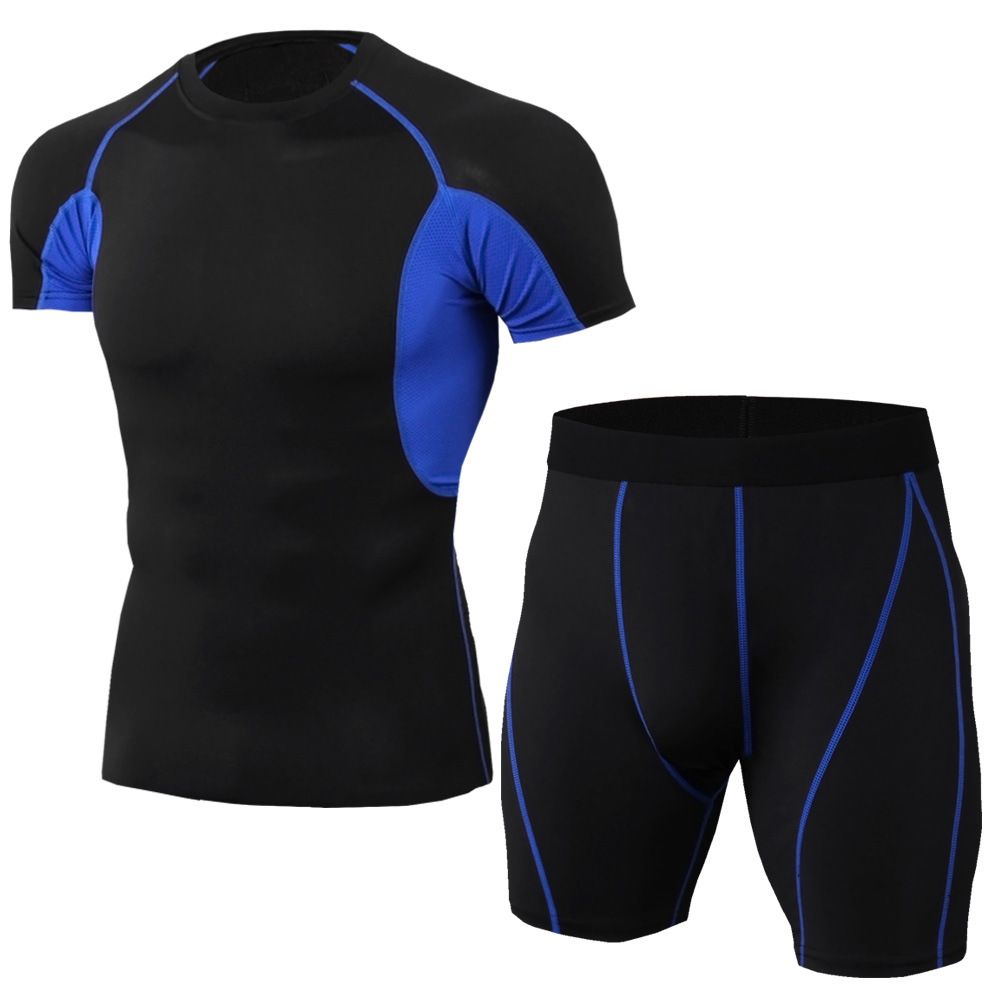 New Striped Set Men Sport Tracksuit Fitness Tight Men Short Sleeve T Shirt+Shorts Leggings Gym Run Jogging Quick Dry 2pcs / Sets