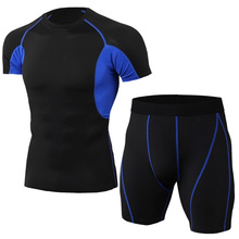 New Striped Set Men Sport Tracksuit Fitness Tight Short Sleeve T shirt+Shorts Leggings Gym Run Jogging Quick Dry 2pcs / Sets