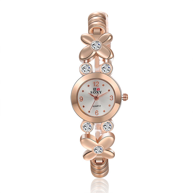 SOXY Brand Watch Women New Fashion Rose Gold Quartz Watch Luxury Rhinestone Brac
