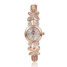 Soxy часовой бренд Новинки для женщин модные розового золота кварцевые часы Роскошный горный хрусталь браслет часов Hour Clock Relojes Relogio feminino