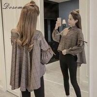 DOSOMA Plaid Plus Size Blouses Female Pleated Back Lantern Sleeve Asymmetric Shirts 2018 Spring Women S