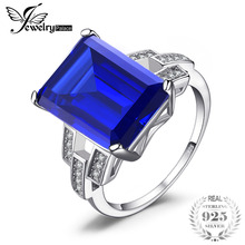 JewelryPalace Luxury Emerald Cut 9.6ct Created Blue Sapphire Cocktail Ring 925 Sterling Silver Ring for Fashion Women On Sale