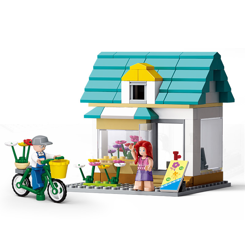 Models building toy B0570 149Pcs Flower Shop SimCity Large Scene Friends Building Blocks toys & hobbies image