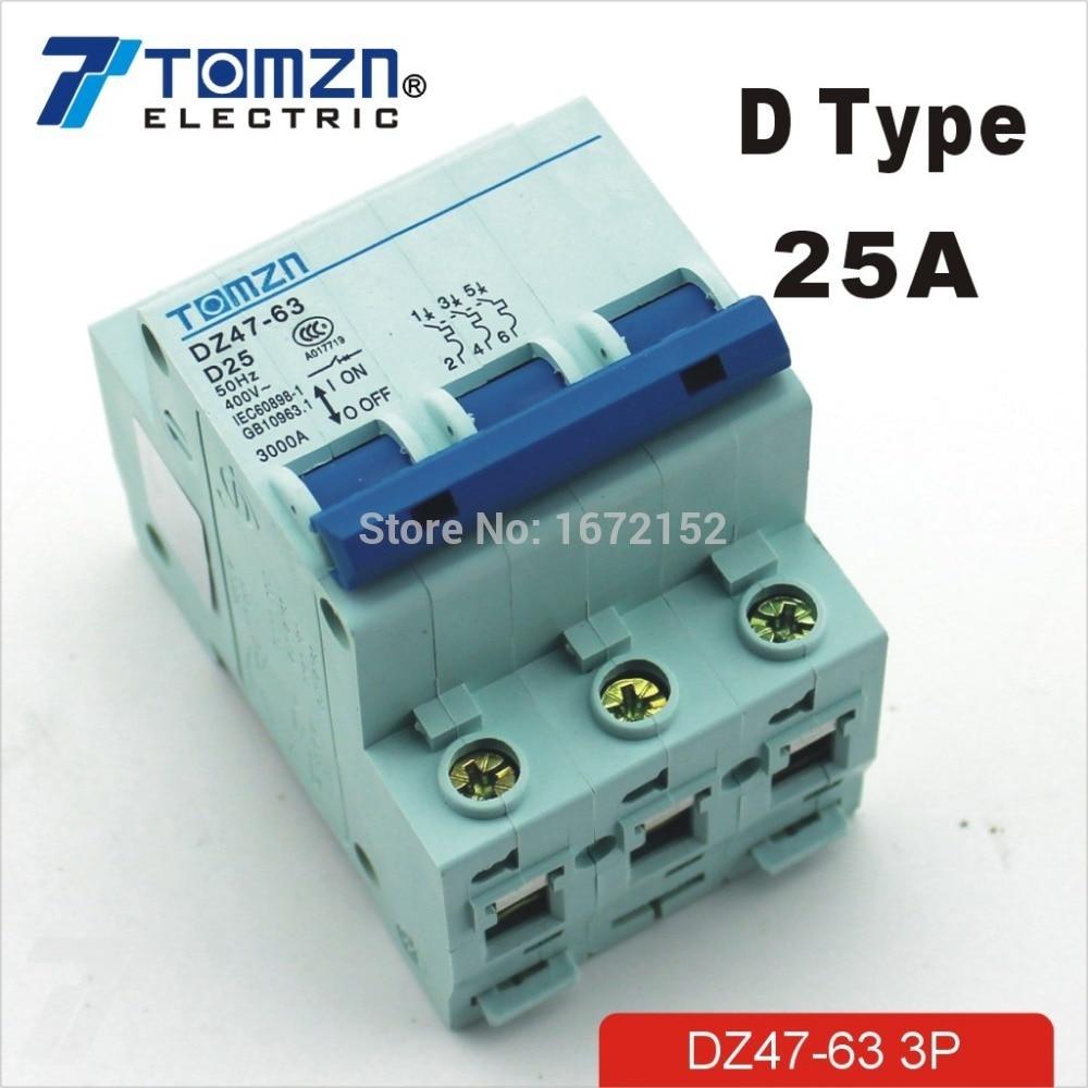 3P 25A D type 240V/415V Circuit breaker MCB 4 POLES new 31691 circuit breaker compact ns250h tmd 200a 4 poles 4d