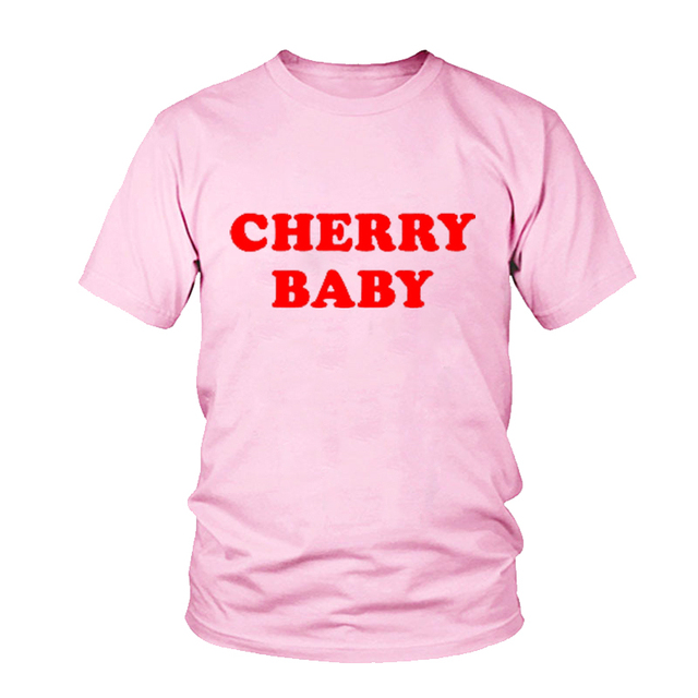 New Arrive High Quality Crewneck Cherry Baby Red Letter T-Shirt Tee  Aesthetic Lovers Girl Clothes Tops Tumblr Outfit d590e72e2d80