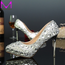 Frauen Strass Kristall Silber Absätze Pumpt Rote Farbe Spitz Hochzeit Schuhe Brautkleid Schuhe