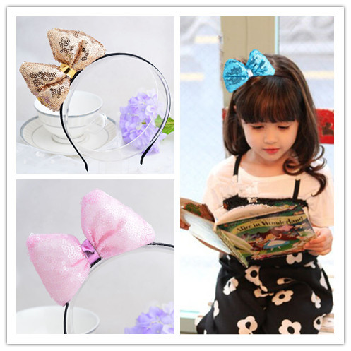 New 2015 Korean Sequin Big Bow headdress Girls headband hair band hair accessories hairpin 1 pieces dhl or ems 120pcs two color crossed milk silk headband knotted hair band lady wash headdress td 31 hair accessories