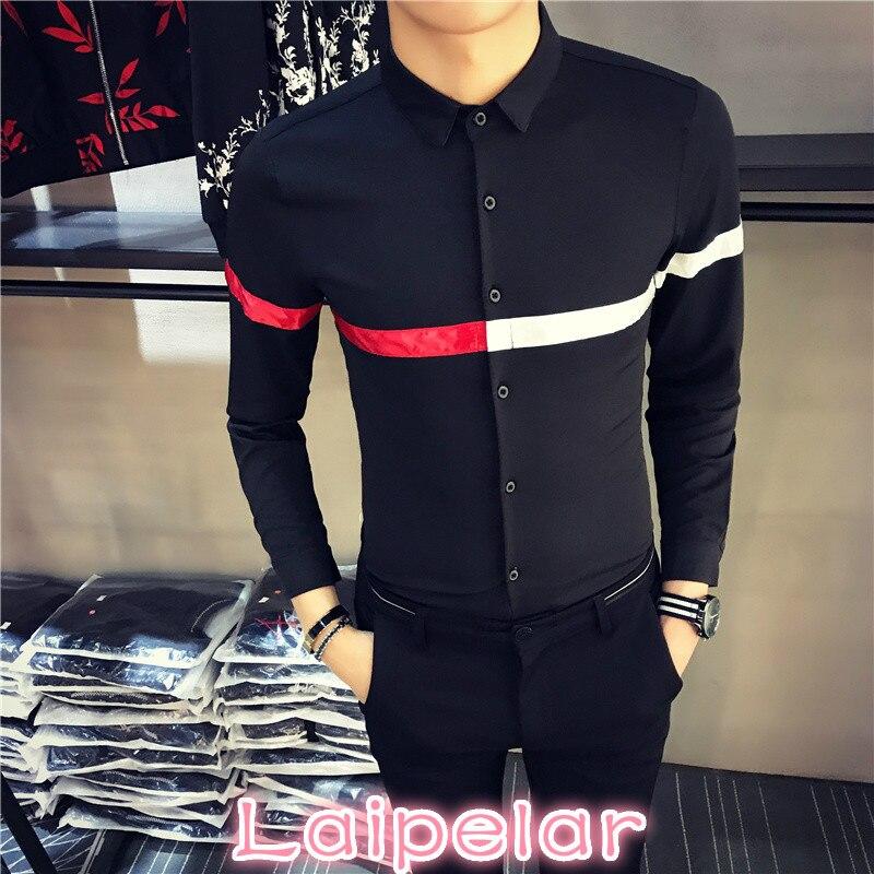 2018 Brand New Men Fashion Casual Long Sleeved Shirt Autumn Winter Hot Sale Striped Mens Shirts Long Sleeve Slim Fit Shirt Men in Casual Shirts from Men 39 s Clothing