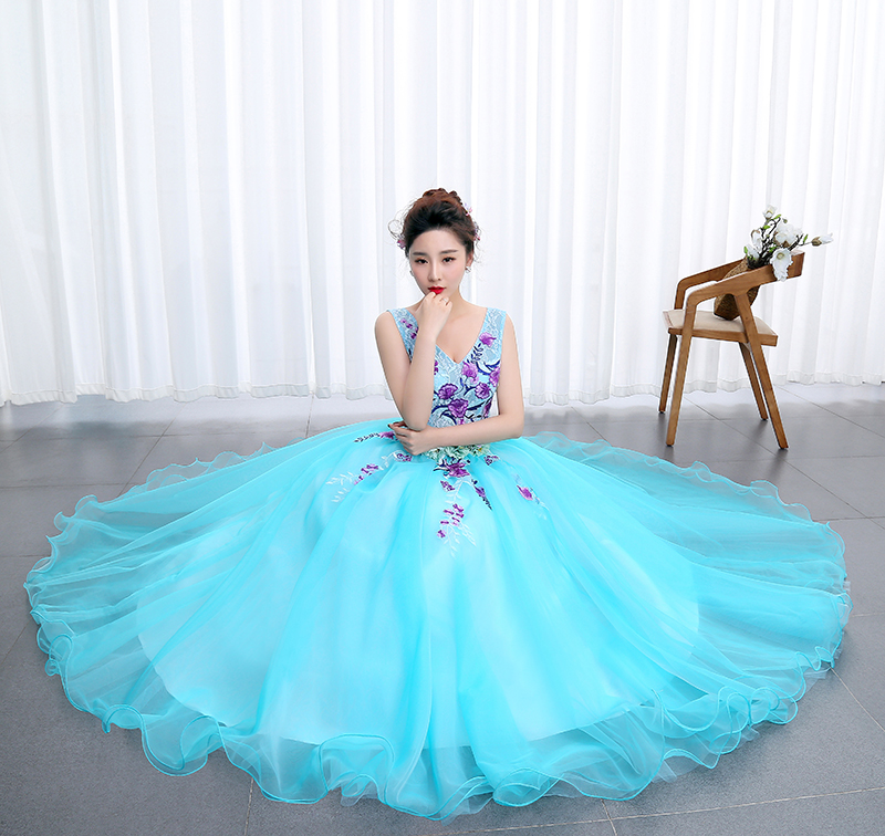 Image 4 - OPZC Color yarn Princess Blue New Wedding Dress 2020 Sexy V Neck 