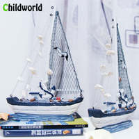 Mediterranean Shell Seabird Fishing Boat Solid Wood Handmade Retro Style Boat Sculpture Home Decoration Accessories