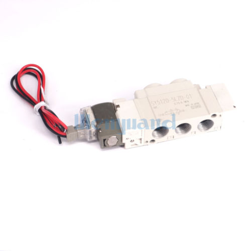 DC24V SY5120-5LZD-01 Body Ported 2 Way Single Actuation 5 Port Solenoid Valve Push-turn Locking Slotted