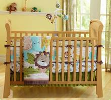 Baby Bedding Set African Lion Baby Crib Bedding Set for Girl Boy Baby Bed Set Quilt Mattress Crib Skirt Crib Protector Bumpers(China)