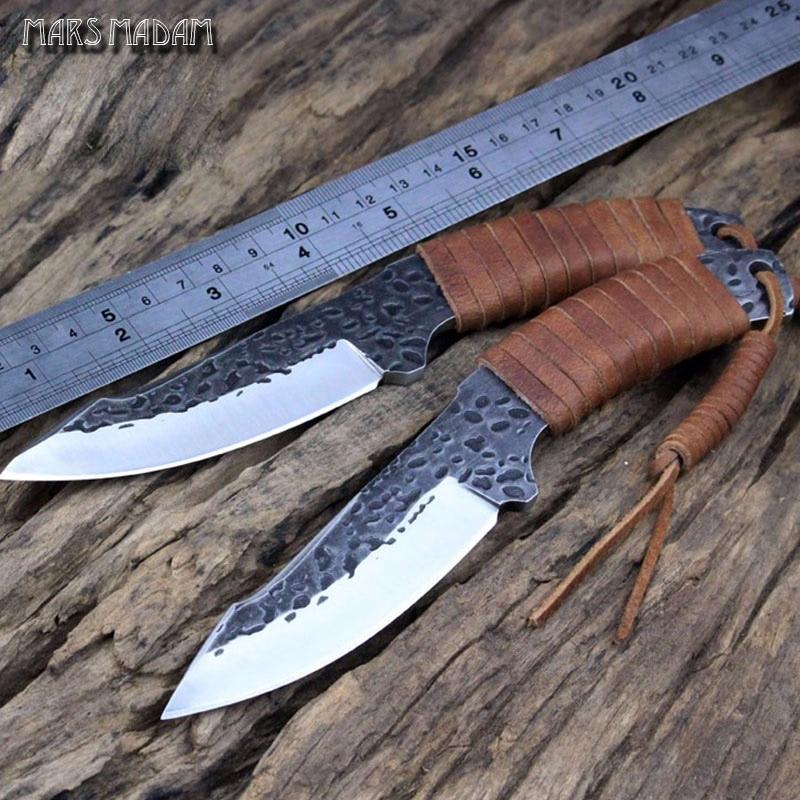 MARS MADAM Free shipping Handmade 9CR18MOV Tactical Knife Fixed Blade  Camping Knife Sheaths Leather Handle  thickness 0.5 CM чехол для galaxy tab3 8 0 samsung book cover черный