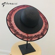 Fibonacci 2019 New Summer Female Mesh Lace Floral Sun Hat Sombrero 12cm Big Brim Panama Beach Women Straw