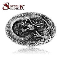 Steel Soldier Drop Shipping Wholesale Chinese Style Men 3D Vintage Dragon Belt Buckle Punk Jewelry Men