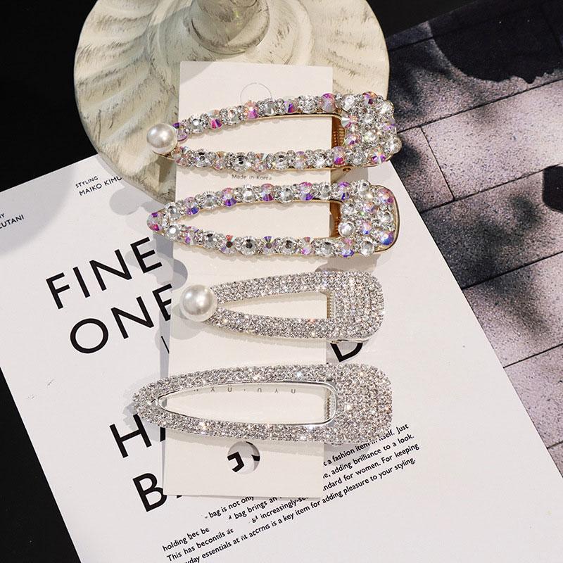 BlingBling Rhinestone Geometric Girl Hair Clips ins Pearl Barrettes Hairgrip Crystal Hair Accessories For Women in Women 39 s Hair Accessories from Apparel Accessories