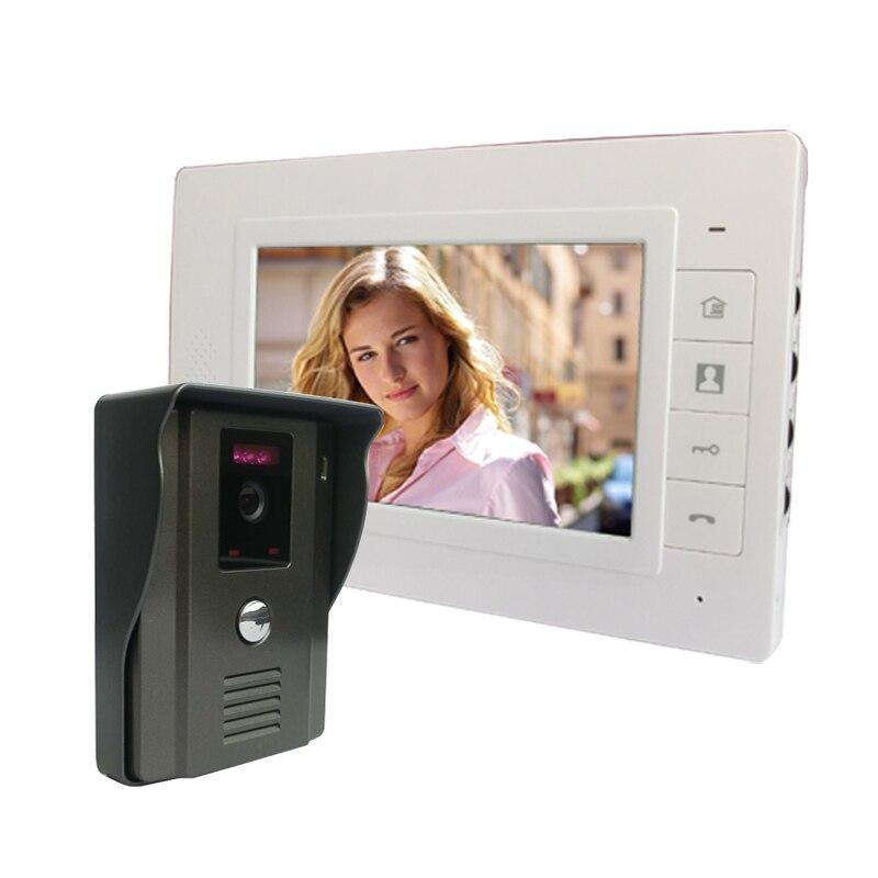 7 couleur Vidéo Porte Téléphone Interphone Vidéo Porte Interphone Sonnette Kit ouvrent la Porte téléphone avec IR Nuit Vision Caméra pour Appartement