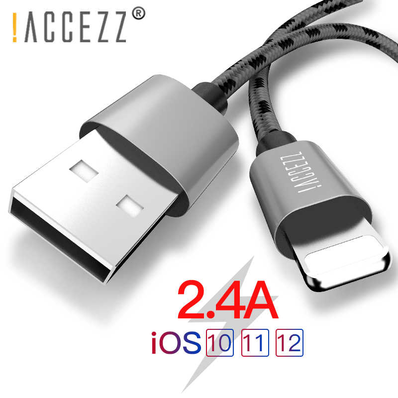 ¡! ACCEZZ 2.4A Cable para iPhone 5 5 5 6 6 7 8 Plus X XS X MAX XR iPad Tablet Cable de carga móvil cables de cargador de iluminación de datos de teléfono