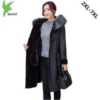 Большие размеры 7XL Бутик Женская зимняя имитация PU мех пальто новая мода сплошной цвет с капюшоном меховой воротник жир мм кожаная куртка
