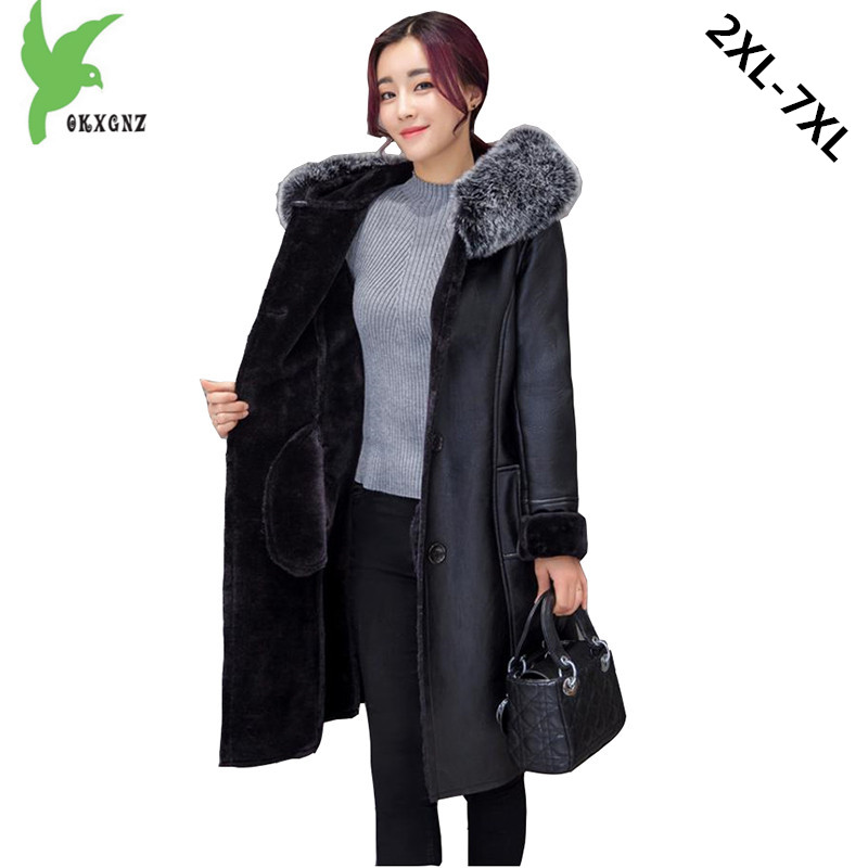 Plus Size 7XL Boutique Women Winter Imitation PU Fur Coat New Fashion Solid Color Hooded Fur Collar Fat MM   Leather   Jacket OKXGNZ