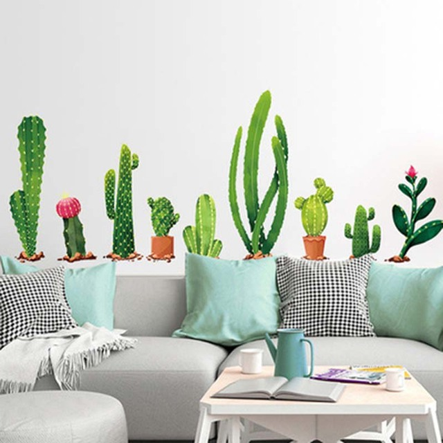 Cactus Bonsai Potted Plants Decorative Wall Stickers For Kids Room