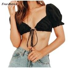 Страусиная летняя футболка женская винтажная Повседневная однотонная бандажная жилетка с пышными рукавами шорты топы бандажные Шорты Топы женские футболки 65
