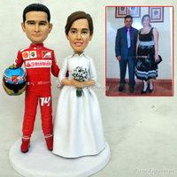 wedding cake topper figurines bride groom doll sculpture handmade polymer clay dolls wedding dollhouse miniature dog keychain