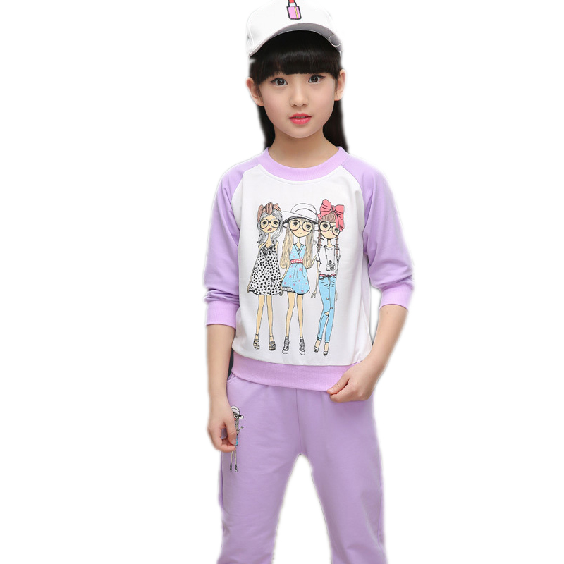 girls sets spring autumn baby girls clothes cartoon beauty girls printed sports hoodies+pants 2pcs suit sets girls sportswear