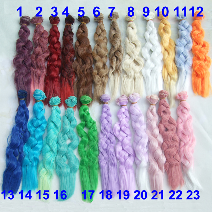Factory offer 25cm long curly BJD doll hair rainbow color wavy thick high teperature diy ...