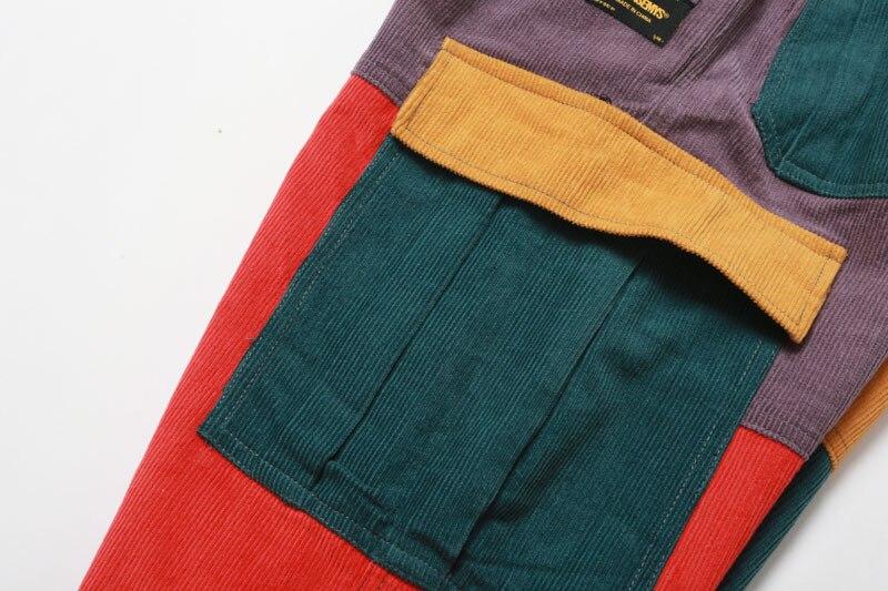 Corduroy Color Block Patchwork Cargo Pants 6