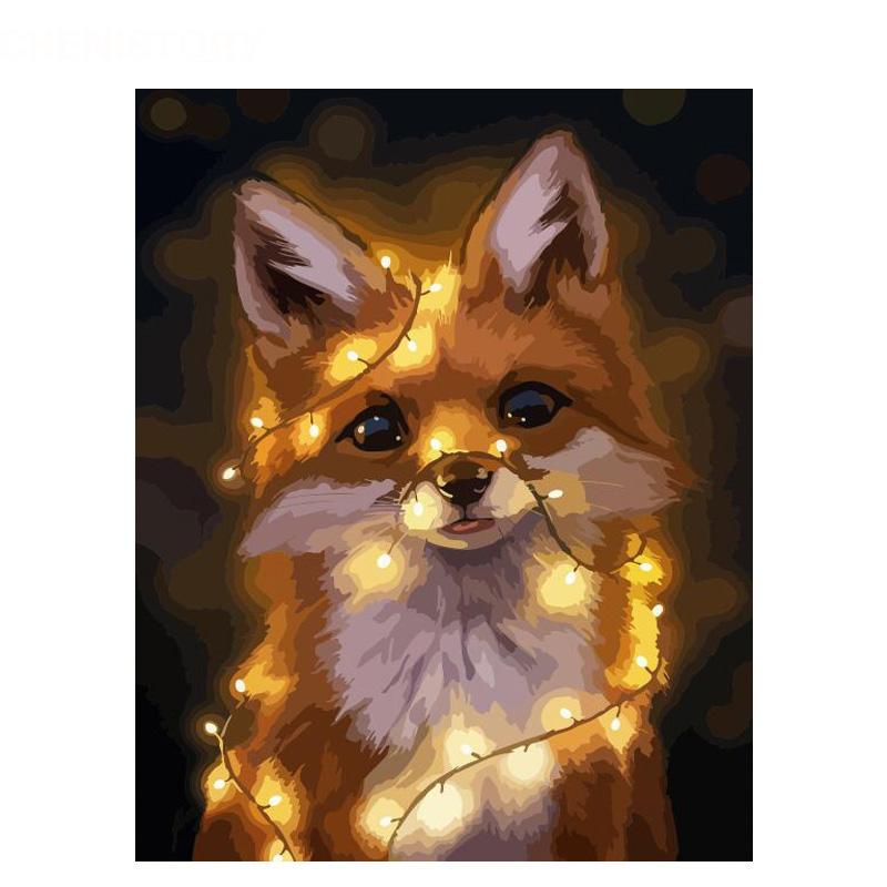 Luminescence Fox Animal DIY Digital Painting By Number Modern Wall Art Canvas Painting Unique Gift Room Decor 40x50cm