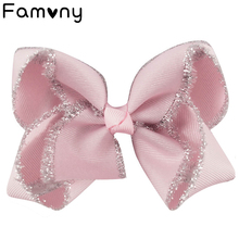 2pcs/lot 4 Solid Grosgrain Ribbon Hairbow with Clips Handmade Glitter Edge Hair Bow Girls Headwear Kids Accessories2018